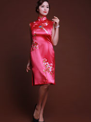 light rosy silk short cheongsam dress